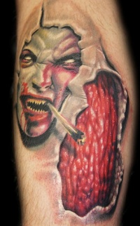Demon flesh skin rip tattoo